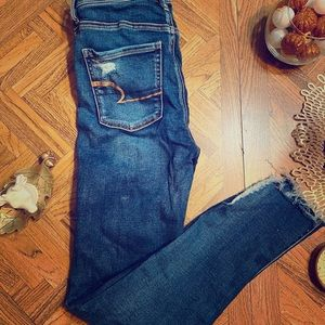 distressed AE high waisted skinny jeans
